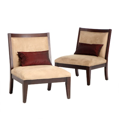 Ebonized Wood Sueded Upholstered Lounge Chairs, Contemporary