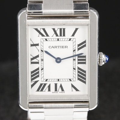 Cartier Tank Solo Large Stainless Steel Quartz Wristwatch