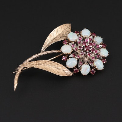 1950s 14K Yellow Gold Opal and Ruby Flower Brooch with 900 Silver Accent