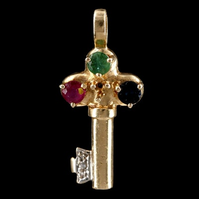 14K Yellow Gold Diamond, Ruby Emerald and Sapphire Key Pendant