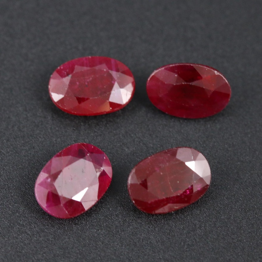 Loose 3.31 CTW Oval Faceted Ruby Gemstones