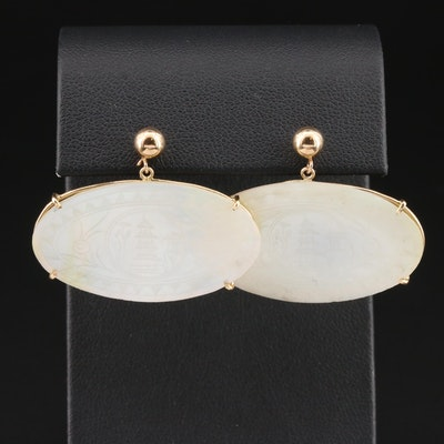 14K Yellow Gold Etched Mother of Pearl Dangle Earrings with Pagoda Motif