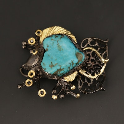 Sterling Silver Turquoise and Sapphire Fish Motif Brooch