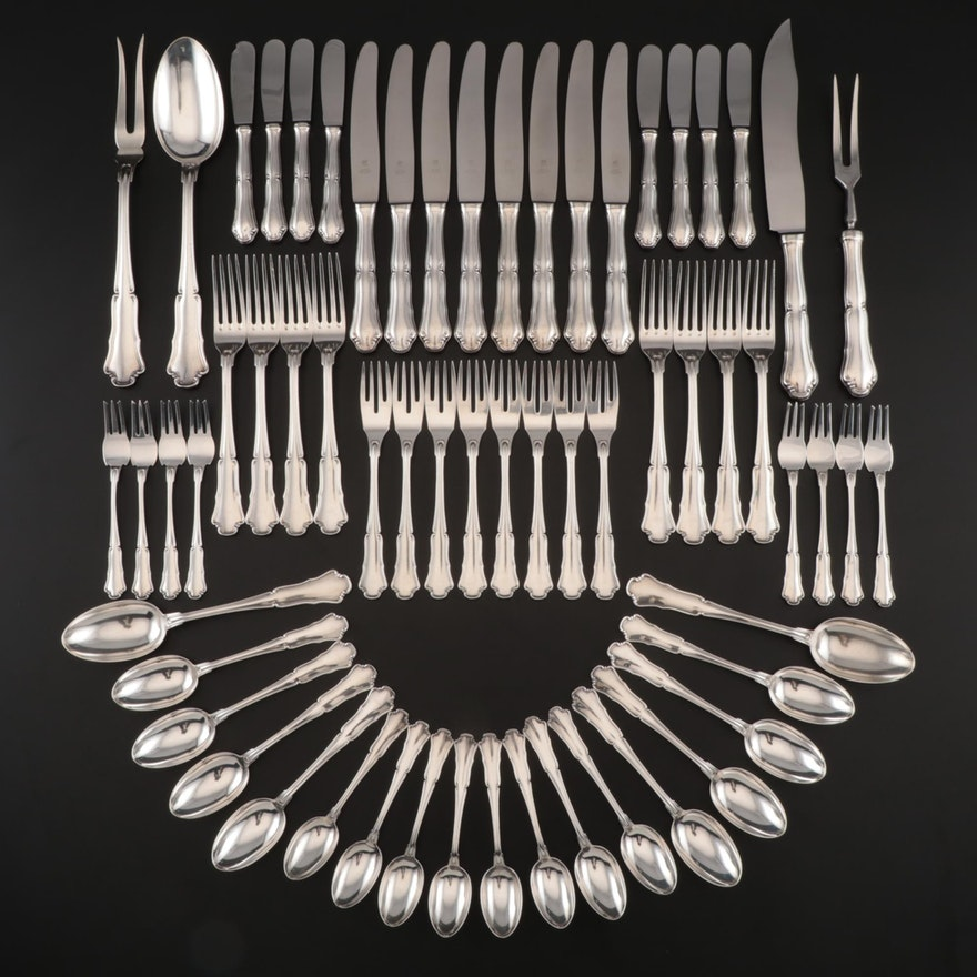 "Mario Buccellati of Italy ""Savoy"" Sterling Silver Flatware, Late 20th Century"