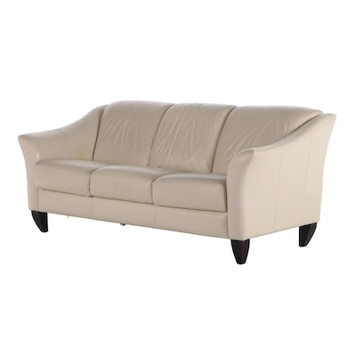 Chateau d'Ax Italian Leather Upholstered Sofa, Contemporary