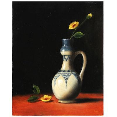 "Houra Alghizzi Oil Painting ""Golden Poppy in Pottery Vase"""