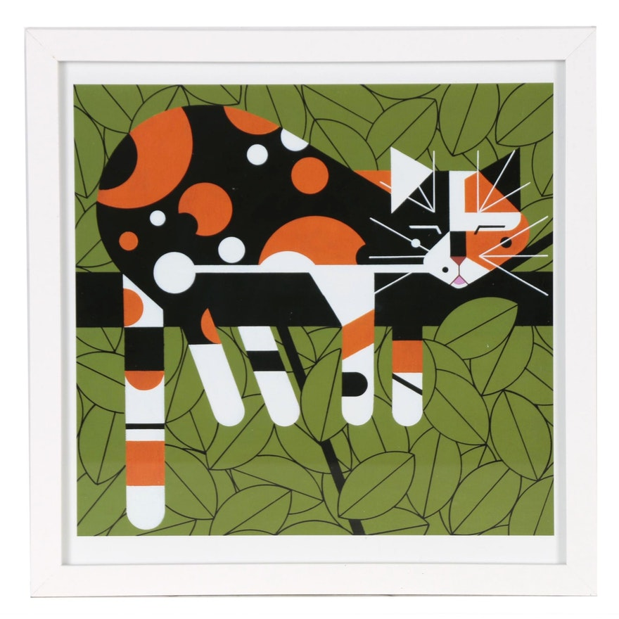 """Offset Lithograph after Charley Harper """"Limp on a Limb"""""""