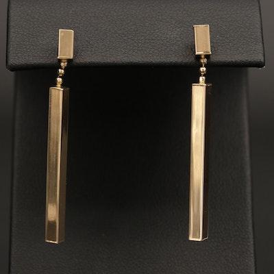 14K Yellow Gold Geometric Drop Earrings