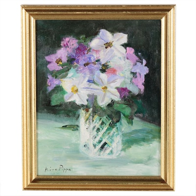 "Nino Pippa Oil Painting ""Tobacco Flowers Study"""