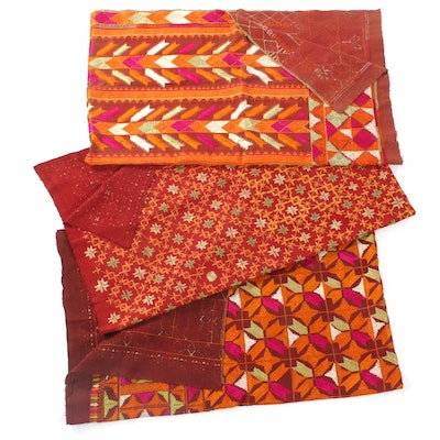 Indian Handmade Phulkari Embroidered Textiles, Vintage