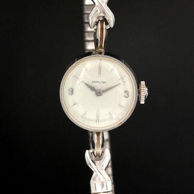 Vintage Hamilton 14K White Gold Stem Wind Wristwatch