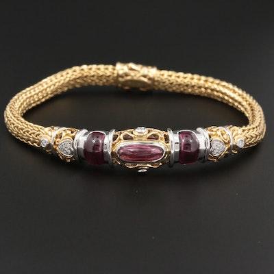 John Hardy 18K Yellow Gold Rhodolite Garnet and Diamond Bracelet