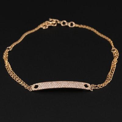 14K Yellow Gold Diamond Panel Bracelet