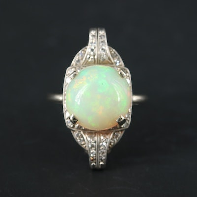 14K White Gold and Platinum Opal and Diamond Ring