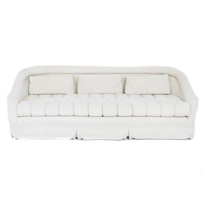 Ivory Velveteen Tufted Rolled Arm Sofa, Mid-20th Century