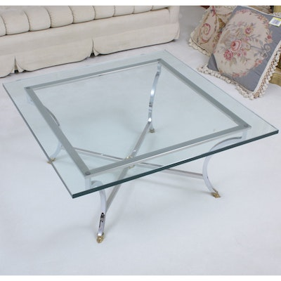 Brass-Mounted Chrome and Glass Top Coffee Table, Second Half 20th Century