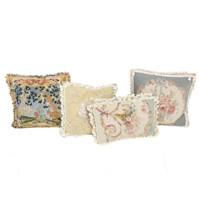 Handcrafted Needlepoint Throw Pillows, Mid-20th Century
