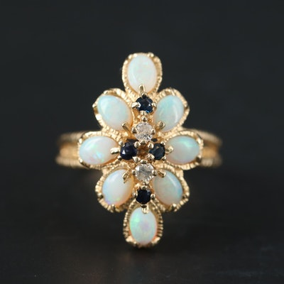 14K Yellow Gold Opal, Sapphire and Diamond Ring