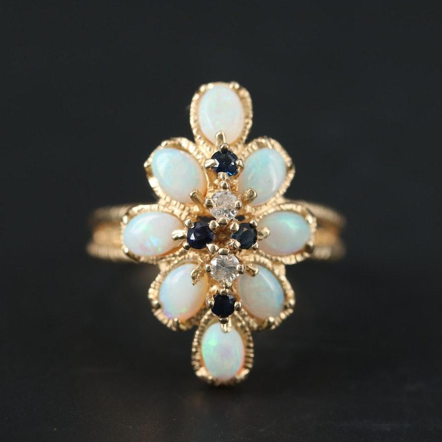 14K Yellow Gold Opal, Sapphire and Diamond Ring