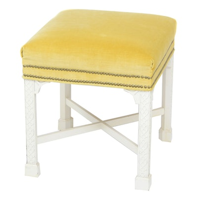 French Provincial Style Velvet Upholstered Ottoman, Mid-20th Century