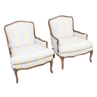Louis XVI Style Bergère Chairs, Mid to Late 20th Century