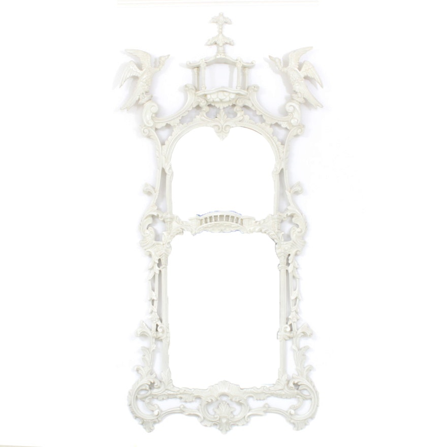 Rococo Revival Ornately Carved Wood Framed Wall Mirror, Mid-20th Century