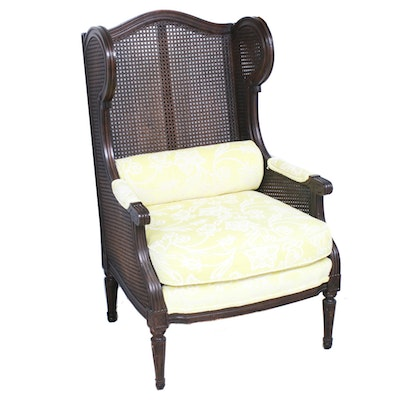 Caned Wingback Armchair, Mid-20th Century