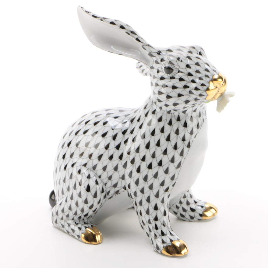 """Herend Black Fishnet with Gold """"Bunny with Daisy"""" Porcelain Figurine"""