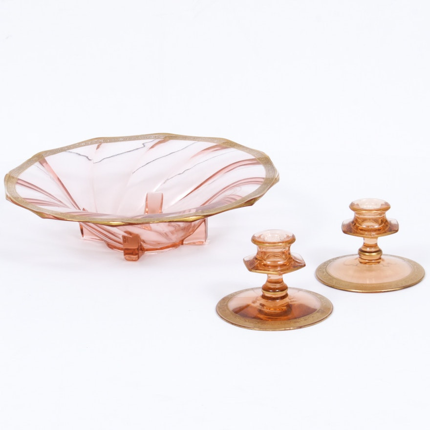 "Heisey ""Flamingo Pink"" Glass Centerpiece and ""Mercury Pink"" Candle Holders"