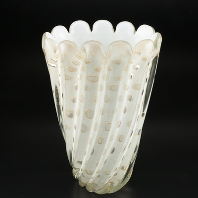 Murano Style Cased Glass Fluted Vase