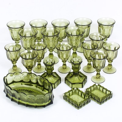 "Fostoria Argus Green ""Coin Glass"" Candle Holders, Ashtrays and Other Stemware"