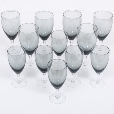 "Fostoria ""Debutante Grey"" Water Goblets and Wine Glasses, Late 20th Century"