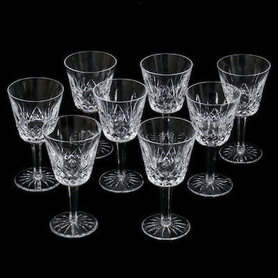 "Waterford Crystal ""Lismore"" Claret Wine Glasses, Late 20th Century"