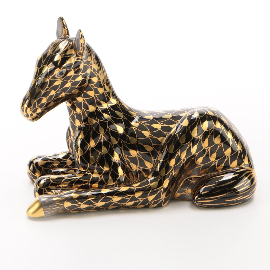 """Herend Gold Fishnet and Black """"Lying Foal"""" Porcelain Figurine"""