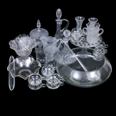 Glass Punch Bowl and Cups with Crystal and Glass Serveware