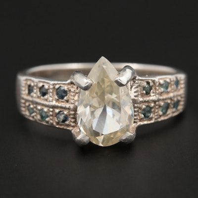 Sterling Silver Moissanite and Sapphire Ring