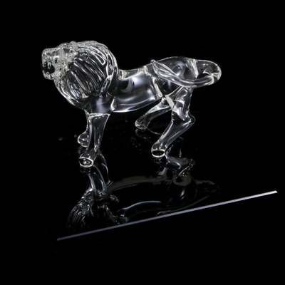 Hand-Crafted Art Glass Figural Lion