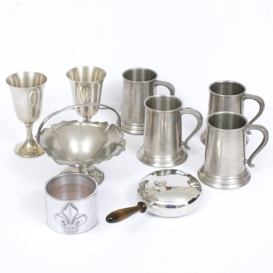 Stieff and Other Pewter Tableware with Mariposa Aluminum Bottle Coaster