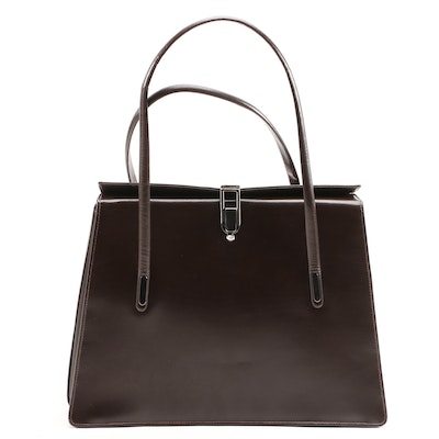 Dark Brown Leather Top Handle Bag, Vintage