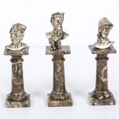 Miniature Cast Metal Busts on Marble Plinths