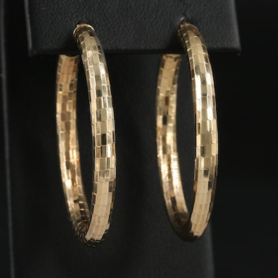 14K Yellow Gold Faceted Hoop Earrings