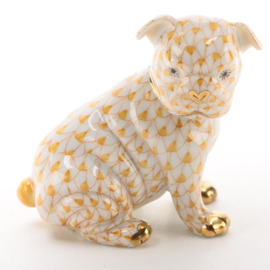 "Herend Butterscotch Fishnet ""Bulldog Puppy"" Porcelain Figurine"