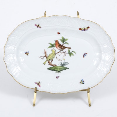 "Herend ""Rothschild Bird"" Porcelain Oval Serving Platter"