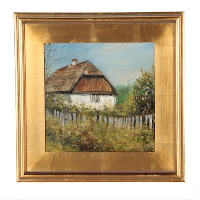 "Garncarek Aleksander Oil Painting ""Farm"""