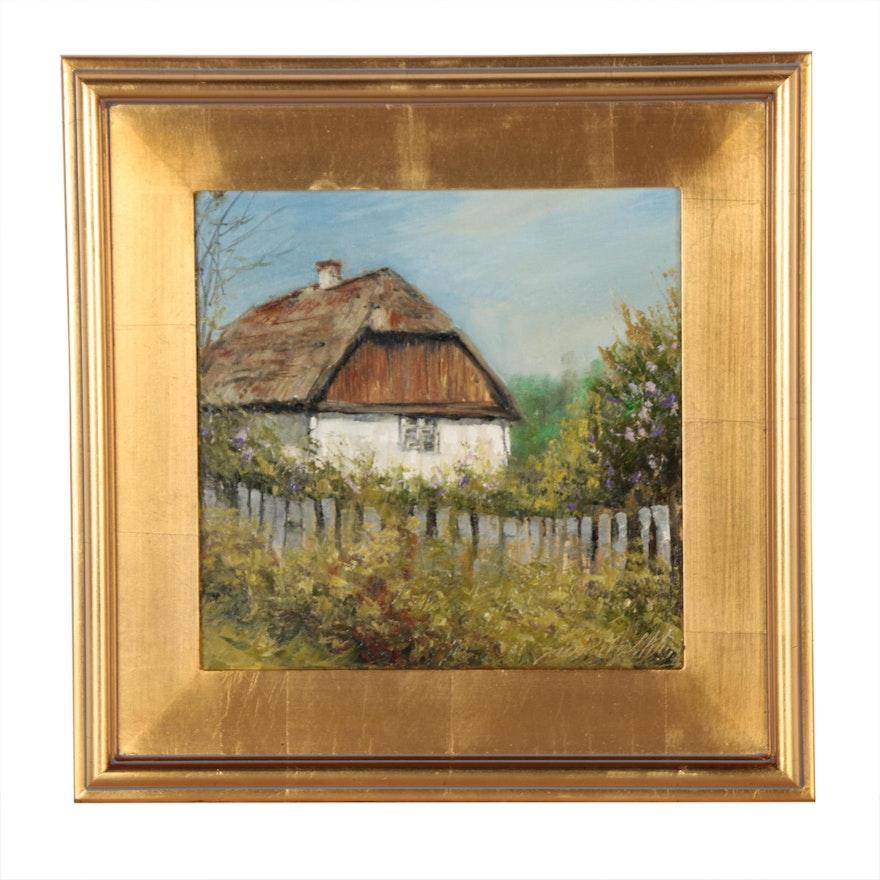 "Garncarek Aleksander Oil Painting ""Farm"""