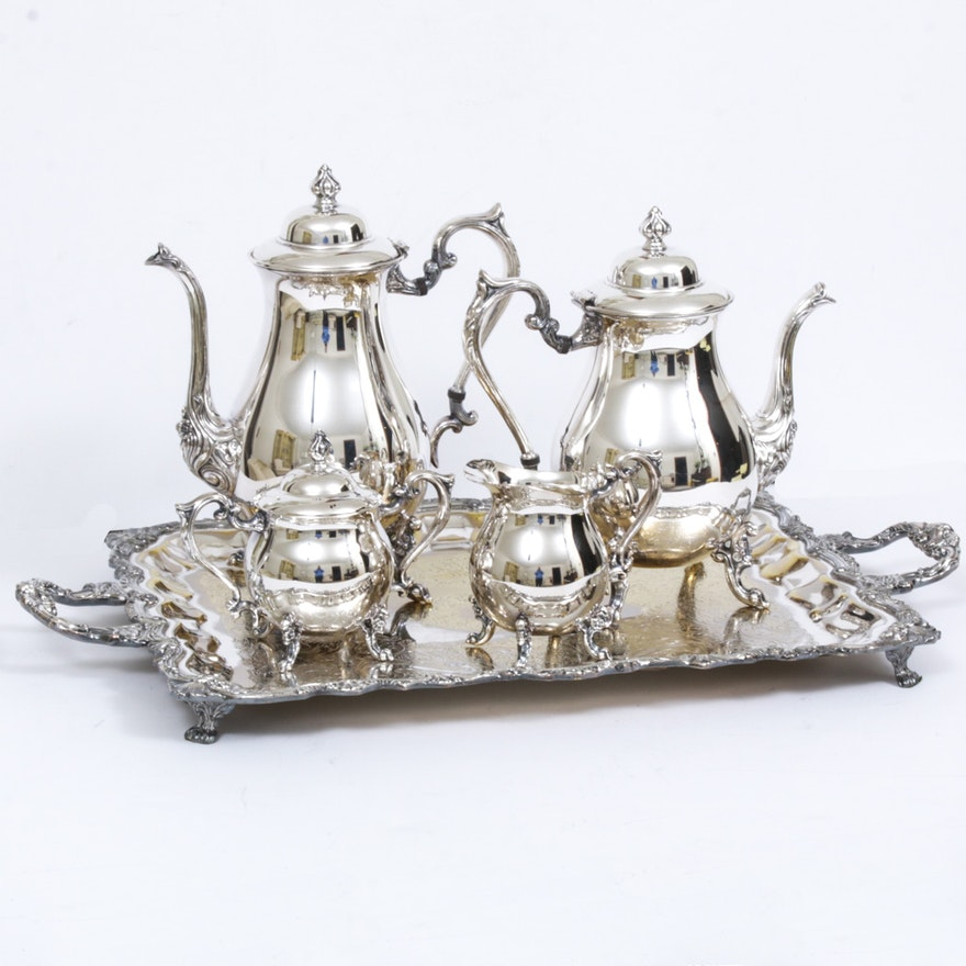 Sheridan Plated Silver on Copper Tea and Coffee Service with Tray, Mid-20th C.