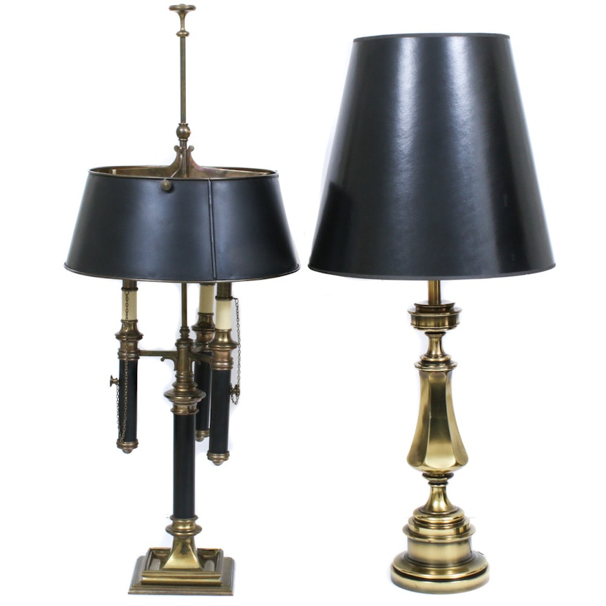 Stiffel Black and Brass Table Lamp with 3 Tier Metal Lamp , Mid-20th Century