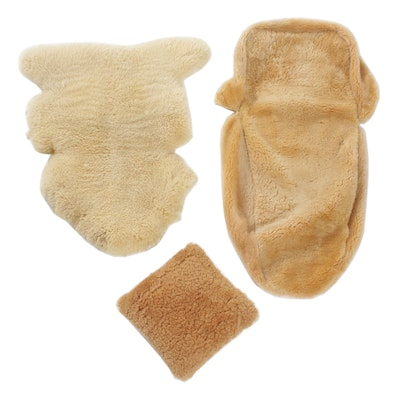 Eagle-West Lambskin and Sheepskin Car Seat Covers and Pillow, 1980s