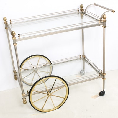 Brass-Mounted Steel and Glass Two-Tier Serving Cart, Mid to Late 20th Century