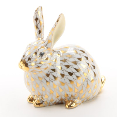 "Herend Guild Gold Fishnet ""Chubby Bunny"" Porcelain Figurine, 2006"